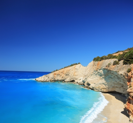 ionian island: Sunny day at the famous Porto Katsiki beach on the island of Lefkada, Greece, shot with a tilt and shift lens Stock Photo