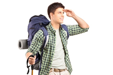 trekking pole: A hiker with backpack looking isolated on white background