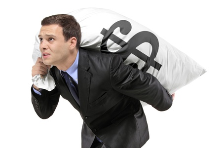 hardly: A businessman carrying a money bag with US dollar sign isolated against white background