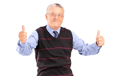 A gentleman giving thumbs up isolated on white background Stock Photo - 17167200