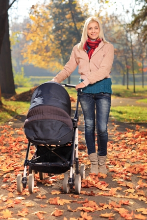 baby stroller: Young mother taking a walk in the park with her baby in a pushchair Stock Photo