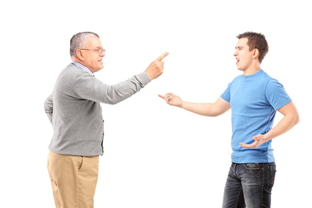 Father and son having an argument isolated on white background Stock Photo - 17482961