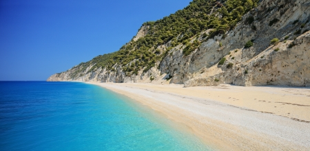 ionian island: Detailed panorama of Egremni beach on the island of Lefkada, Greece on a sunny day