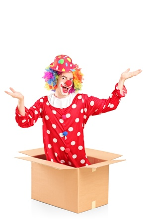 Smiling clown coming out of a cardboard box isolated against white background Stock Photo - 17591047