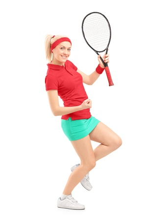 sportsperson: Full length portrait of a happy female tennis player isolated on white background