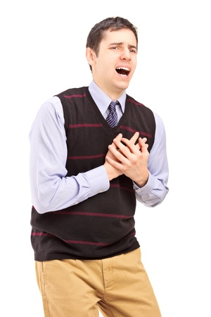 A young man having a heart attack isolated on white background
