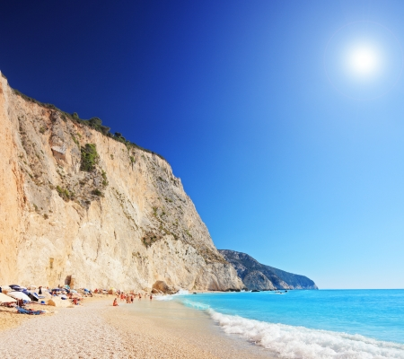 A view of a Porto Katsiki beach on a clear sunny day, Greece, shot with a tilt and shift lens photo