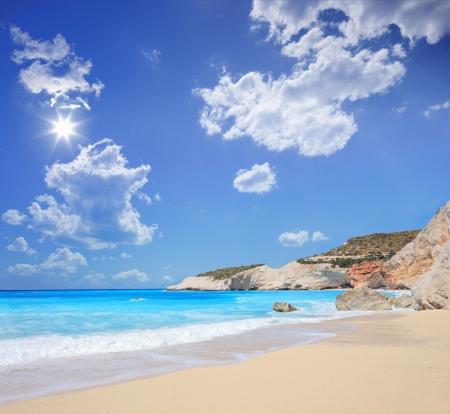 tilt shift: A view of a Porto Katsiki beach on a summer day, Lefkada island, Greece, shot with a tilt and shift lens