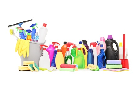 cleaning tools: Studio shot of a cleaning supplies isolated on white background Stock Photo