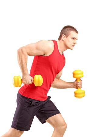 Muscular athletic man lifting weights isolated on white background photo