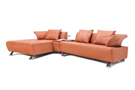 Studio shot of a luxury brown leather sofa isolated against white background  Stock Photo - 18546089