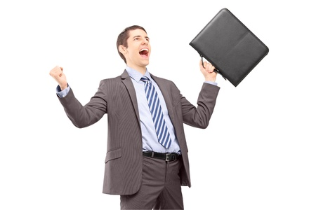 man screaming: Young businessman with briefcase gesturing excitement with raised hands isolated against white background Stock Photo