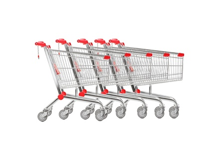 shopping trolleys: A studio shot many shopping carts isolated on white background