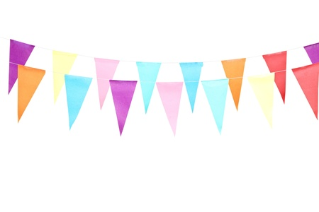 birthday decoration: A studio shot of a line of colorful party flags, isolated on white background Stock Photo