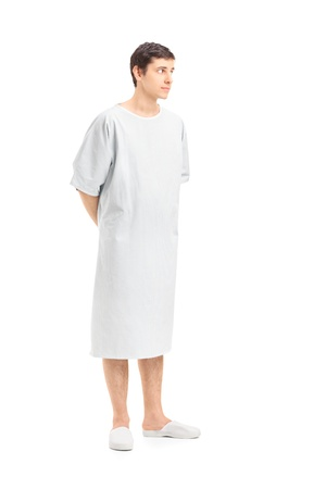 gown: Full length portrait of a male patient in a hospital gown looking, isolated on white background