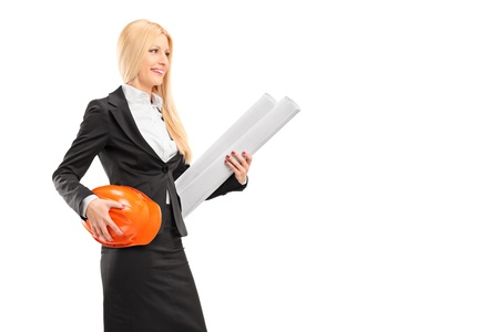 Female architect holding a helmet and a blueprint isolated against white background photo