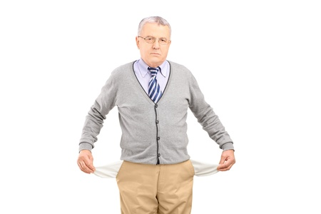 broke: Senior man with empty pockets, isolated on white background