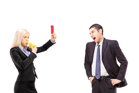 Woman in business suit showing a red card to an angry man in a business suit, isolated on white background photo
