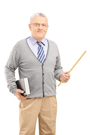 college professor: A male teacher holding a wand and a book isolated on white background