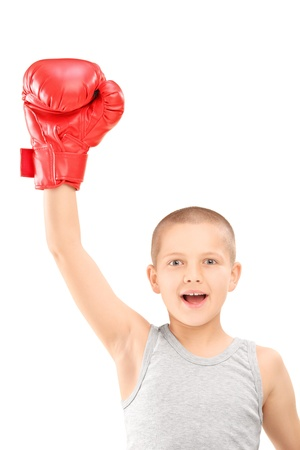 boy boxing: A happy kid with red boxing gloves gesturing triumph isolated on white background Stock Photo