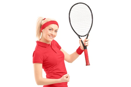 sportsperson: A happy female tennis player isolated on white background