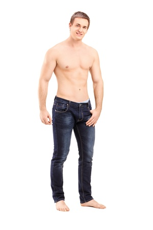 full body shot: Full length portrait of a shirtless handsome guy looking at camera isolated on white background