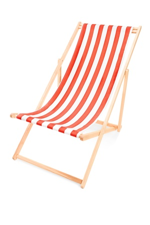 sunbed: Studio shot of a sun lounger with orange stripes, isolated on white background Stock Photo