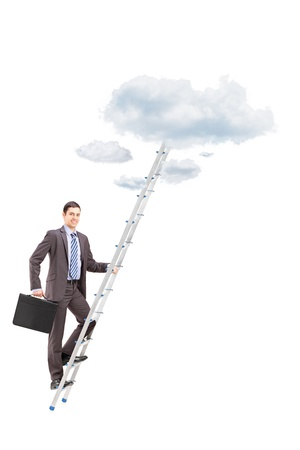 reachability: Full length portrait of a businessman climbing a ladder towards clouds, isolated on white background Stock Photo
