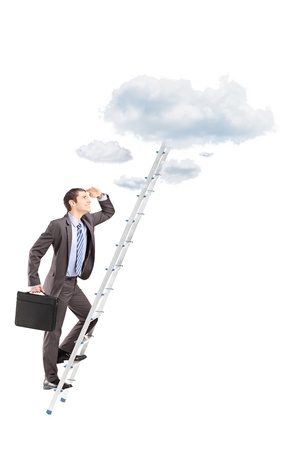 reachability: Full length portrait of a businessman with briefcase climbing a ladder towards clouds isolated on white background