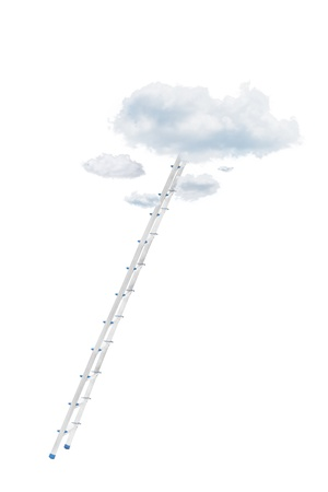reachability: Metal ladder and clouds isolated against white background