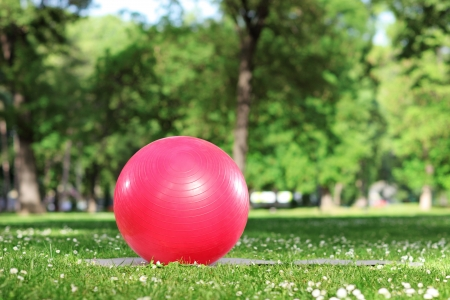 Red pilates ball on a green grass in a park photo
