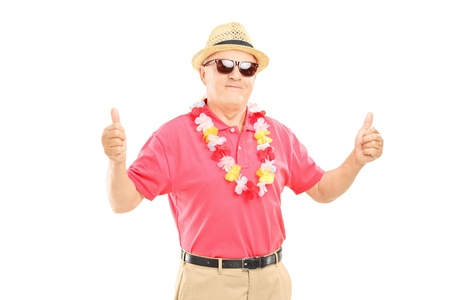 lei: Happy mature man with hat and sunglasses giving thumbs up, isolated on white background Stock Photo