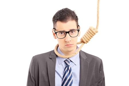 unsuccessful: Depressed businessman in suit executing with a rope, isolated on white background