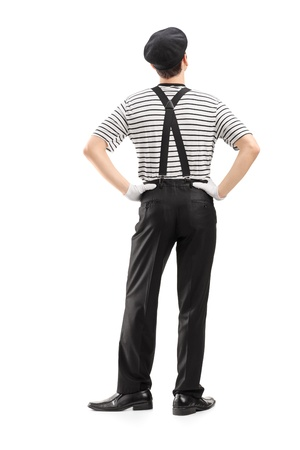 mimic: Full length portrait of a mime dancer shot from behind, isolated on white background