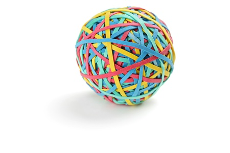 rubber bands: Studio shot of a colorful rubber band ball isolated on white background