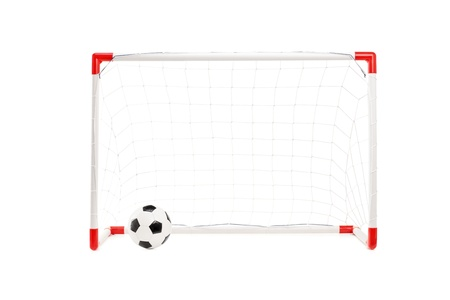goal post: Studio shot of a soccer goal and ball isolated on white background