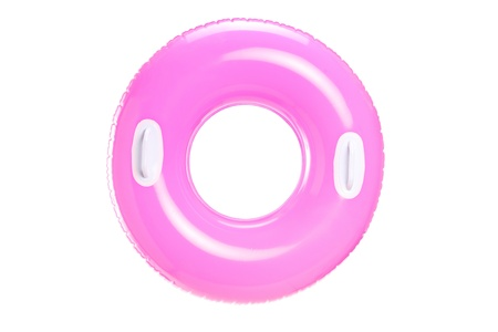 plunge: Stufio shot of a pink swimming ring isolated on white background