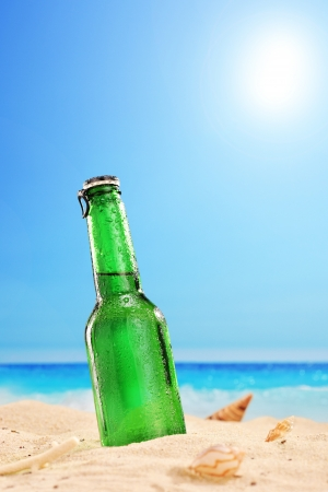 A view of a beer bottle on a sandy beach, with clear sky and sun, next to the sea  photo