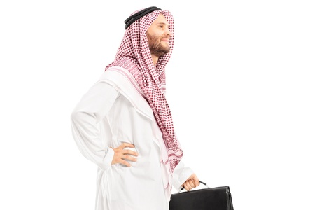 headcloth: Male arab person with suitcase posing isolated on white background