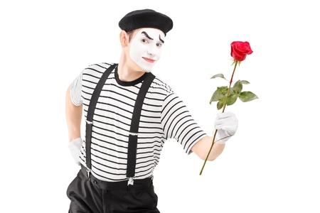 pantomima: Mime artista que da una flor rosa sobre fondo blanco