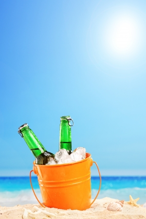 Two beer bottles in a bucket of ice in the sand on a beach