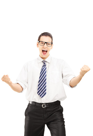 Happy male with tie gesturing happiness and looking at camera isolated on white background Stock Photo - 22282698