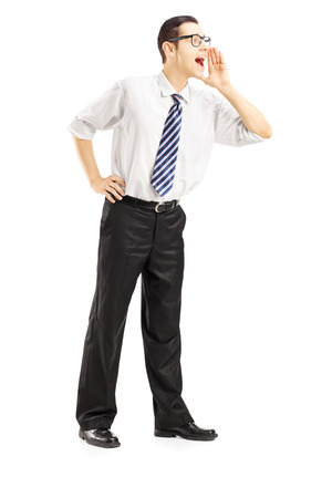 Full length portrait of a businessman shouting isolated on white background photo
