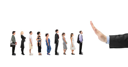 to queue: People waiting in line and a hand gesturing stop isolated on white background