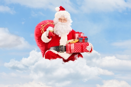 Santa Claus seated on clouds holding a bag full of presents and gifts