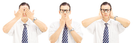 speechless: Three people gesticulation with their hands blindness, speechless and deafness, isolated on white background