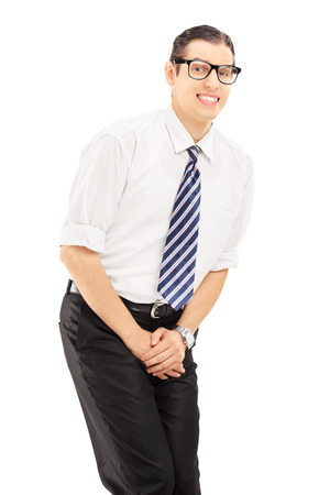Young man with bladder control problem isolated on white background Stock Photo - 22997660