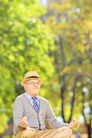 Senior gentleman meditating seated on a green grass in a park photo