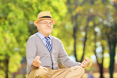 man meditating: Senior gentleman meditating seated on a green grass in a park