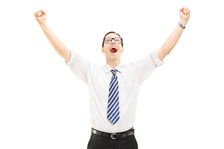 hands raised: Excited male with raised hands gesturing happiness isolated on white